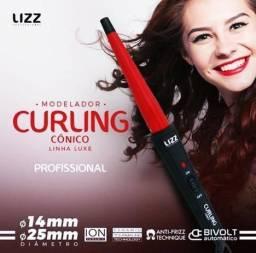 Modelador Lizz Curling Cônico Preto e Vermelho BiVolt