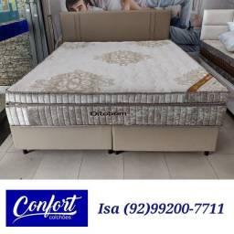 Título do anúncio: cama cama king && cama king ortobom && cama king com painel cabeceira de brinde
