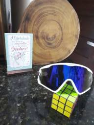 Óculos de ciclismo branco lente azulada