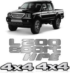 Kit Emblema Adesivo L200 Sport Hpe 4x4 2004 a 2012
