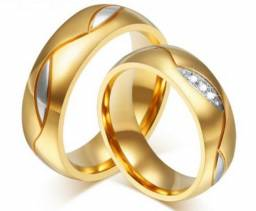 Aliança de Casamento Noivado Banhada a Ouro 18k Linda