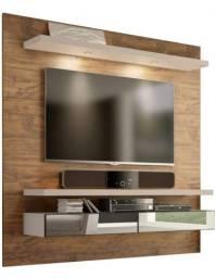 Painel para TV com prateleira com led e gavetas