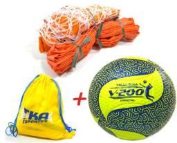 Kit Voleibol 2x1 Praia - 1Rede c/Faixas 1Bola 1brinde