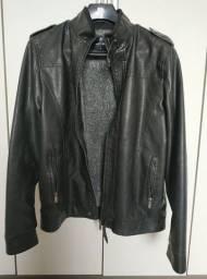 Jaqueta de couro ecológico (sintético) acolchoada tamanho M