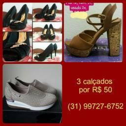 3 calçados por 50 reais