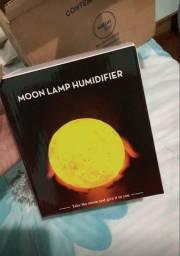 Luminária E Umidificador De Ar 2 em 1 Lua Cheia 3d Difusor Touch Abajur Led Purificador
