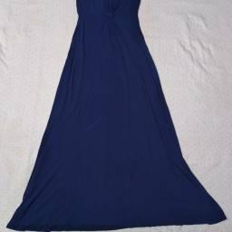 Vestido longo de malha azul royal