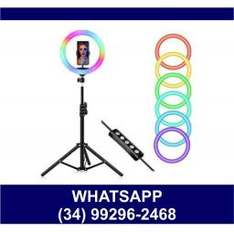 Ring Light 26cm Colorido c/ Tripé 2 metros