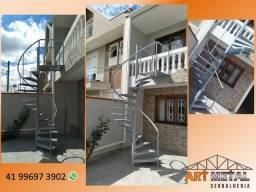 Escadas caracol, escadas retas, Mezaninos Metálicos, Coberturas policarbonato,