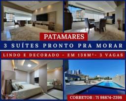 Patamares - 4 quartos - 3 Suítes - Nascente - Lindo em 138m² com 3 Vagas