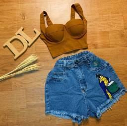 Short jeans e cropped disponível
