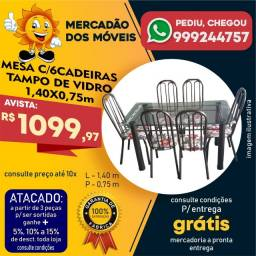 Mesa Com 6 Cadeiras Tampo De Vidro - Entrega Grátis
