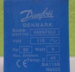 Bobina Solenoide Danfoss 042N7522 115VCA 9W 60Hz 40ºC - Usada