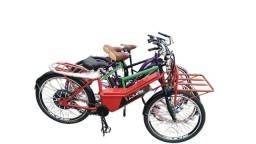 Bicicleta Elétrica Cargo 800w Aro 26 Vermelha