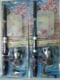 Lote 2 Kits Pescaria Vara Molinete e + valor de 2 conjuntos juntos conforme foto oferta