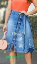 saia jeans com lycra