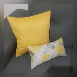 Almofadas em Suede - Amarelo / Floral