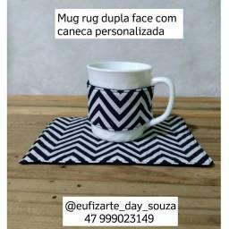 Mug rug dupla face com caneca personalizada
