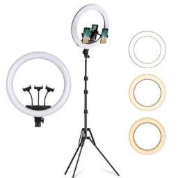 Ring Light 45cm 18polegadas USB com Tripé e 3x Suportes de celular