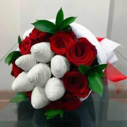 Promoção de buquê de rosas com chocolate
