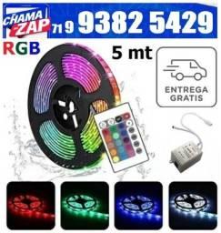 Fita LeD RGB 5050 Rolo 5Mt 300 Leds Prova D'agua + Controle 5 Metros