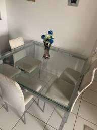 Mesa de jantar de vidro 6 lugares