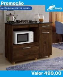balcão marrom para cooktop com portas e gaveta