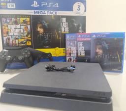 Playstation 4 slim HD 1 tera semi novo com 3 jogos - Parcelo no cartão até 12x