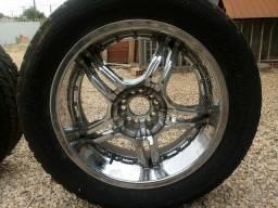Rodas cromadas aro 20 5 furos multifuro c pneus rodaveis