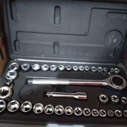 Ferramenta chave catraca reversível sextavado com 40 itens.