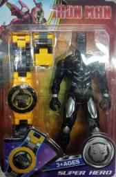 Relógio + boneco super heróis