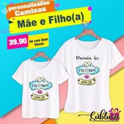 camisa personalizadas mãe e filho (a)