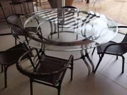Título do anúncio: Mesa redonda de vidro com 6 cadeiras