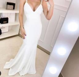 Vestido longo branco festa casamento