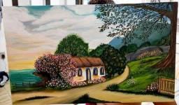 Quadro artesanal pintura acrilica sem moldura