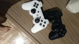 PS3 super slim semi-novo com 2 controles e 5 jogos faço troca