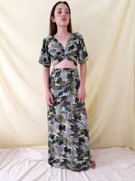 Título do anúncio: Saia longa estampada e cropped amarração conjunto feminino
