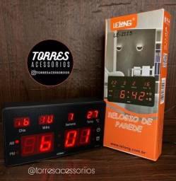 Relógio parede mesa led digital calendário termi