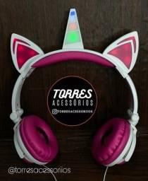 Fone de ouvido unicórnio led Headphone orelha gato com fio