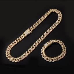 cor prata completo rapper colares para homens hip hop jóias
