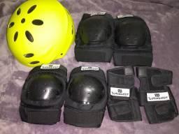 Equipamentos de segurança novos (joelheira, cotoveleira, luva e capacete)