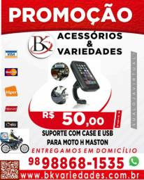 SUPORTE COM CASE E USB PARA MOTO H'MASTON