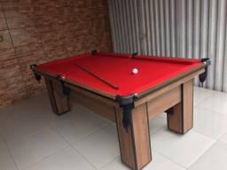 Mesa de Bilhar Charme Imbuia Tecido Vermelho Modelo PPO2554
