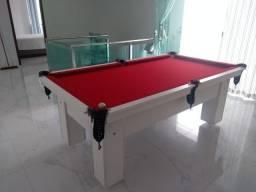 Mesa de Bilhar Charme Branca Tx Tecido Vermelho Modelo KJH8999