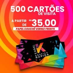 500 cartões de visita verniz total frente