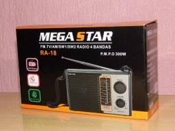 Radio Megastar am/fm/sw multi bandas 110/220v excelente qualidade novo na caixa