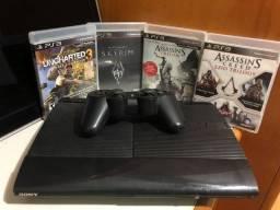 PS3 com um controle e 6 jogos