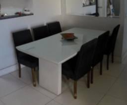Título do anúncio: Mesa laka branca com vidro para 6 ou 8 cadeiras (não acompanham)