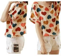 Camisa Feminina Corações Poliéster M Tamanho Único moda estilo promoção liquidação