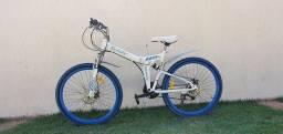 Título do anúncio: Bicicleta dobrável mountain bike aro 26 marca MEANT - Branca Branco/Azul